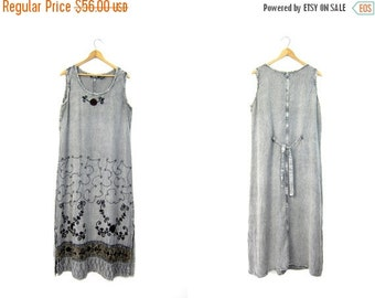 Maxi Indian Dress Floral Embroidered Long Festival Gypsy Sundress Gray Grey Hippie Dress 90s Grunge Ethnic Boho Maxi Sun Dress Large Medium