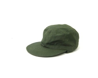 vintage Army Green Hat Ear Flap Hunting cap Men's Driving Hat Hipster Unisex Earflap Cap Size Medium Large