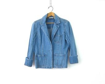 80s Jean Jacket Vintage Denim Hipster Jacket Summer Spring Jean Blazer Fitted Jacket Womens Size Small