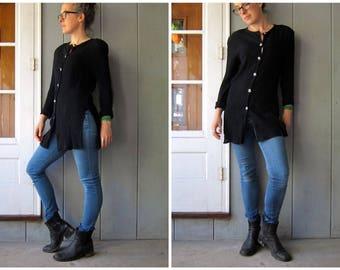Basic Black Button Up Tunic Top 90s Long Sleeve Crinkled Mini Dress Loose Fit Minimal Shirt Button Down Black Shirt Womens Small Medium