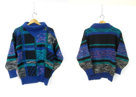 Abstract Blue Black Sweater 1980s Patchwork Cowl turtleneck Jumper Hipster Knit Top Vintage Womens Size Medium