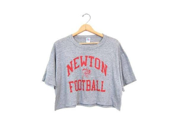 Newton Football Cropped Tshirt Grey Red Slogan Tee Athleisure Crop Top Printed Gray Cotton Tee Shirt 90s Grunge Sports Shirt DES Large XL