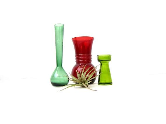 Colorful Glass Vase Collection Vintage Red Bouquet Vase Skinny Green Bud vases Bottles Cottage Chic Home Decor Instant Collection
