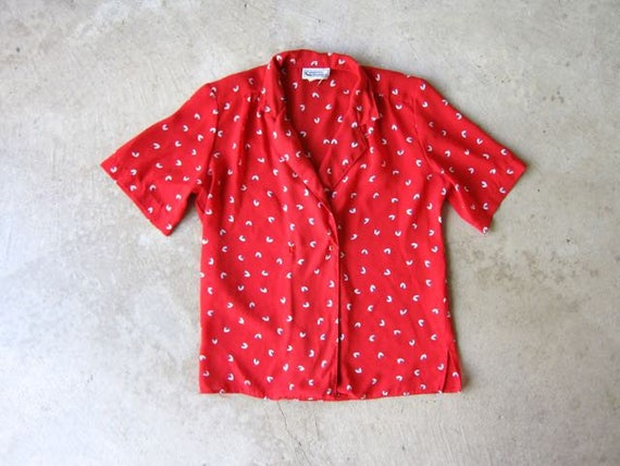 80s Red Printed Blouse Vintage SHEER Floral Shirt Button Up Top Minimal Spring Short Sleeve Blouse Red Flower Top Womens XS Small