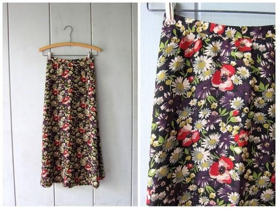 90s Floral Midi Skirt Colorful Flower Print Long Spring Skirt High Waist Boho Preppy Revival Festival Skirt Purple Black Red Womens XS