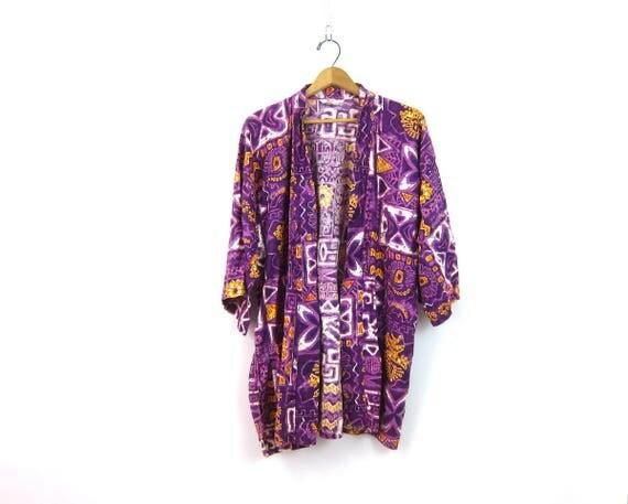 Purple BATIK robe lingerie Dressing Gown Ethnic Graphic Print Coverup Burlesque Pin Up Girl Peignoir Vacation Resort Wear size Medium Large