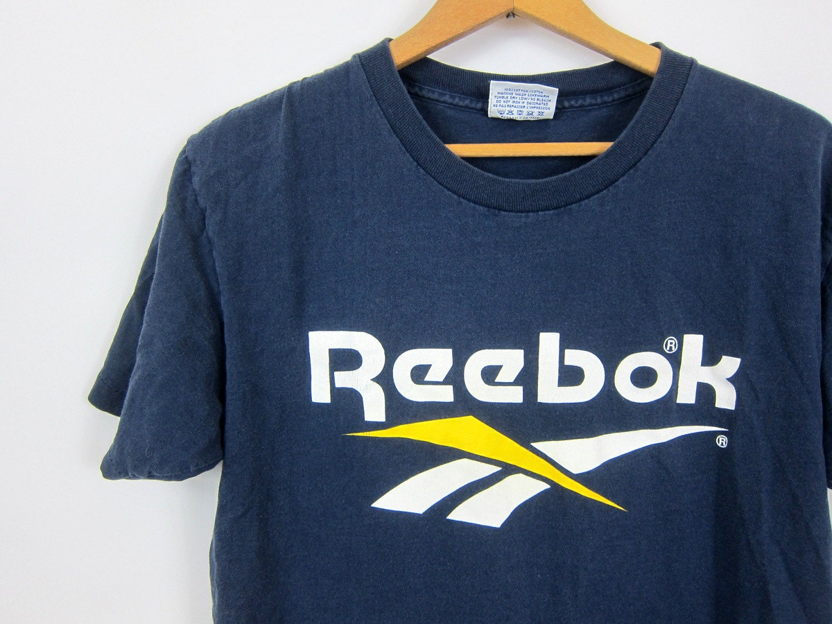 Vintage reebok t shirt navy blue tee shirt 1990s cotton for Old logo t shirts