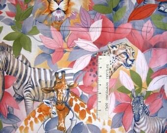 Kendi Safari Fabric - Lion Cheetah Elephant Pastel Floral - Alexander Henry YARD