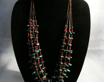SPECIAL Native American Style Turquoise Penshell & Coral Heishi 6 Strand Necklace  #58