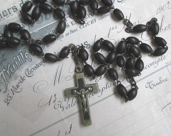 Vintage French Rosary * Religious * Catholic * Black * Wood