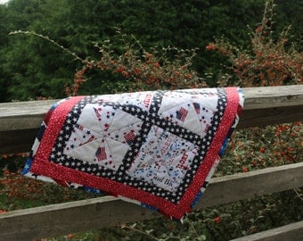 Large table quilt Red White and Blue Americana home décor Rustic table décor Patriotic mini quilt Farmhouse quilt Picnic quilt Made in USA