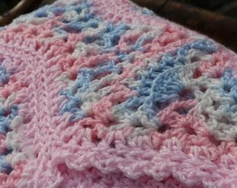 Dainty Pink Blue White  baby afghan Crochet heirloom baby blanket pink blue princess blanket 26x36 cozy newborn snuggle blanket