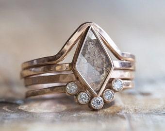Natural Clear Geometric Diamond Ring