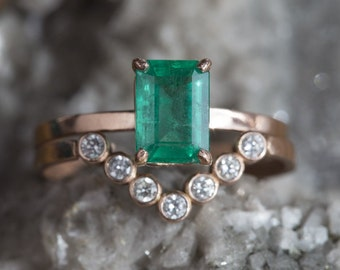 Natural Emerald-Cut Emerald Ring
