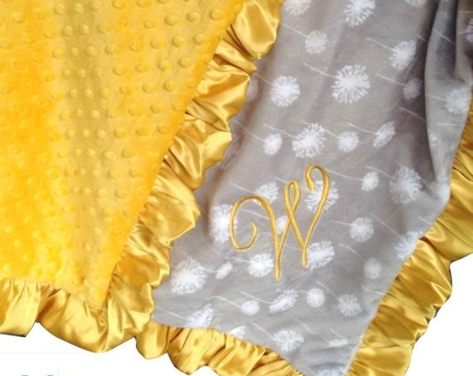 SALE Yellow and Gray Minky Blanket, Gray Dandelion Print - Crib Blanket, Baby Blanket, or Lovey in Yellow and Gray Can Be Personalized