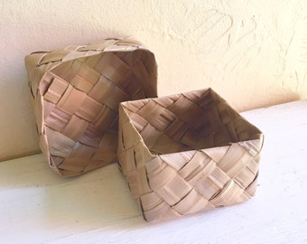 Vintage Woven Basket with Lid Square Storage Wide Grass