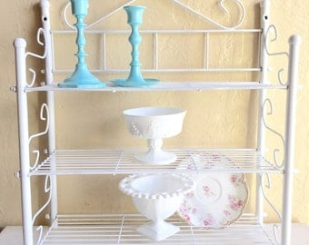 White Metal Shelf Rack Wall Or Standing with 3 Shelves