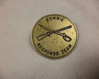 Zombie Response Team Etched Brass Pin