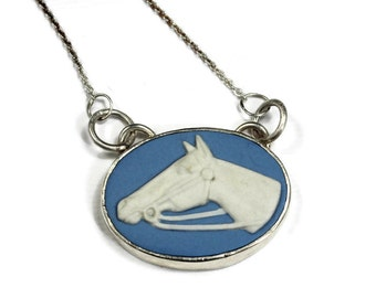 Vintage Horse Head Cameo Necklace