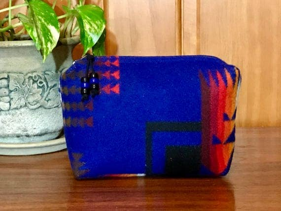 Cosmetic Bag / Makeup Bag / Zippered Pouch Large Sapphire Cjief Joseph