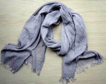 Large linen gauze shawl scarf Light Mauve