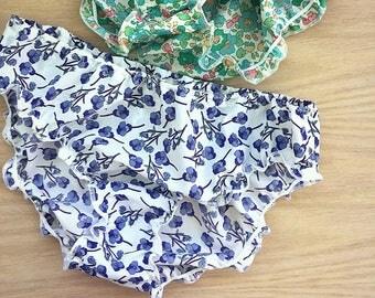 Cotton satin panties, violets print, custom lingerie.