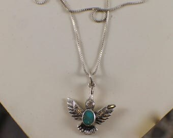 Sterling Silver Thunderbird  Turquoise Pendant Charm