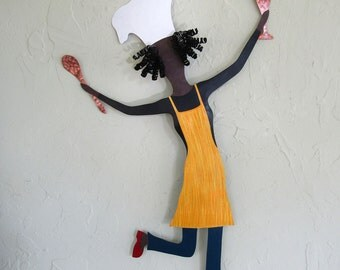Kitchen Wall Art Lady Chef Sculpture Recycled Metal Wall Yellow Art Kitchen Sculpture Dancing Chef Wall Decor  Custom Colors 15 x 22