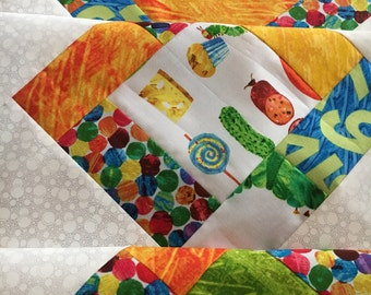 Very Hungry Caterpillar - Eric Carle - Unfinished Baby Quilt - Ready to quilt - Andover Fabrics