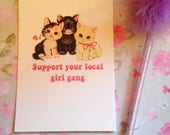 Support your local girl gang - Vintage mash-up postcard - measures 6x4 / 15x10