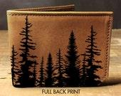 wallet - leather wallet - mens wallet - trees wallet - bifold wallet - unisex wallet - forest wallet - wood wallet