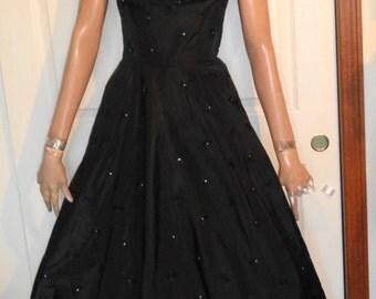 Vintage 50s Black Taffeta Applique Rhinestone Party Dress B36