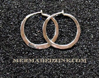 Medium Hammered Sterling Hoops