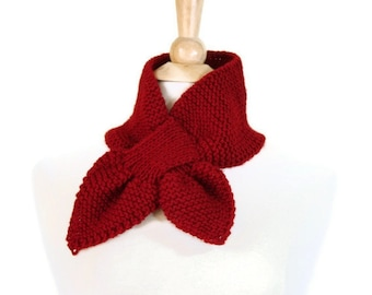 hand knit red scarf, red ascot scarf, knit keyhole scarf, red keyhole scarf, unique scarf, cranberry red scarf, knit ascot scarf
