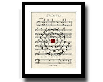 The Beatles All You Need Is Love Sheet Music Art Print, All You Need Is Love Song Lyric Art Print, Custom Art, Name & Date, Love Song