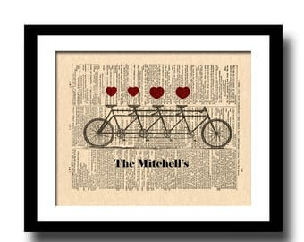 Tandem Bicycle For Four Art Print, Custom Family Bicycle Art Print, Bicycle Art Print, Vintage Dictionary Page Art Print, Housewarming Gift
