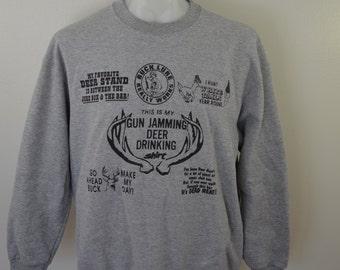 on sale Vintage DEER HUNTING funny SWEATSHIRT xl deer hunter jokes