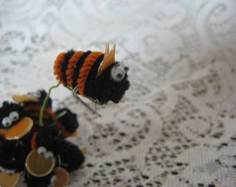 Twelve Black and Orange Vintage Chenille Bumble Bees
