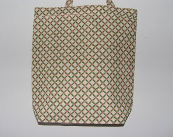 Tote Bag with Pink and Green Lattice