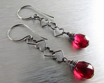 25OFF Red Quartz with Heart Chain Dangle Sterling Silver Earrings