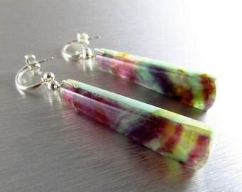 25% Off Reversible Fluorite and Amazonite Sterling Silver Earrings, Two In One Earrings