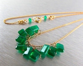 25% Off Green Onyx Baguettes And Gold Filled Necklace
