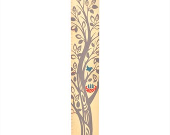 The Growing Tree Wooden Kids Growth Chart / Wood Height Chart / Gray