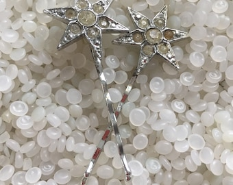 vintage rhinestone hairpin, vintage rhinestone stars hair pins, bobby pins,