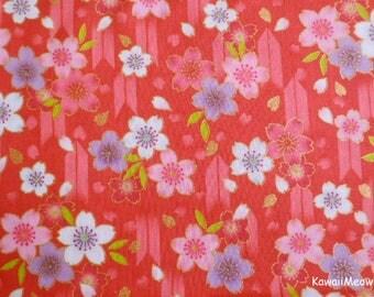 Japanese Kimono Fabric - Arrow Pattern Sakura Cherry Blossoms on Red - Half Yard (nu170418)