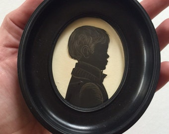 Custom Hand Cut and Gilded Miniature Silhouette in Antique Frame