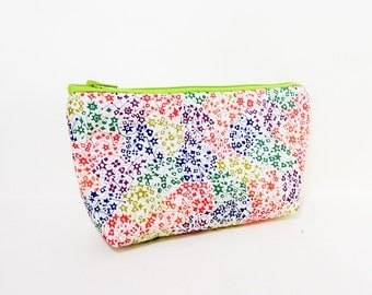 Small Zipper Pouch, Fabric Zipper Pouch, Small Cosmetic Pouch, Liberty of London Pouch, Pouch,  Colorful Pouch, Stars Pouch, Stars Fabric