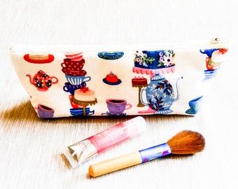 Fabric Zipper Pencil Case, Teacup Pouch, Fabric Pouch, Pencil Pouch, Zipper Case, Cosmetic Bag, Pouch, School Supply, Teacup Zipper Case