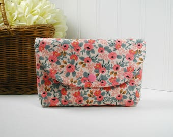 Snap Pouch, Large Snap Pouch, Cosmetic Pouch ... Les Fleurs Rosa in Peach, Rifle Paper Co