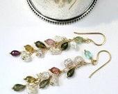HOLIDAY SALE 30% Tourmaline Earring 14kt Gold Fill Chain Keishi Pearl Long Dangle Multicolor Tourmaline October Birthstone Dainty Minimalist